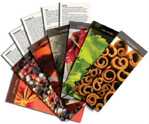 Spice cards, spice calendars and spice education for the gourmet looking to learn about spices and cooking with spices.